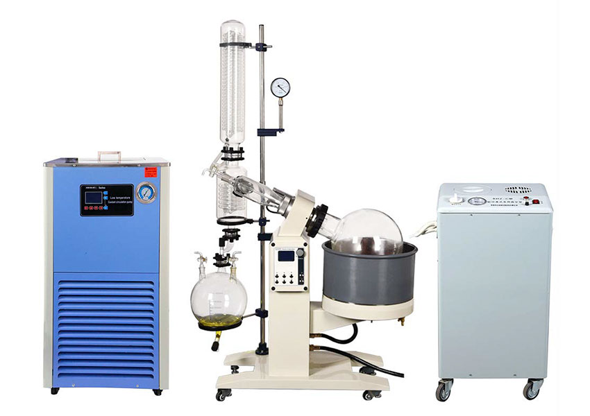 What is the purpose of the water bath in a rotary evaporator